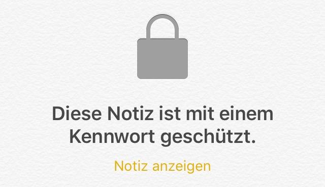 notizen passwort