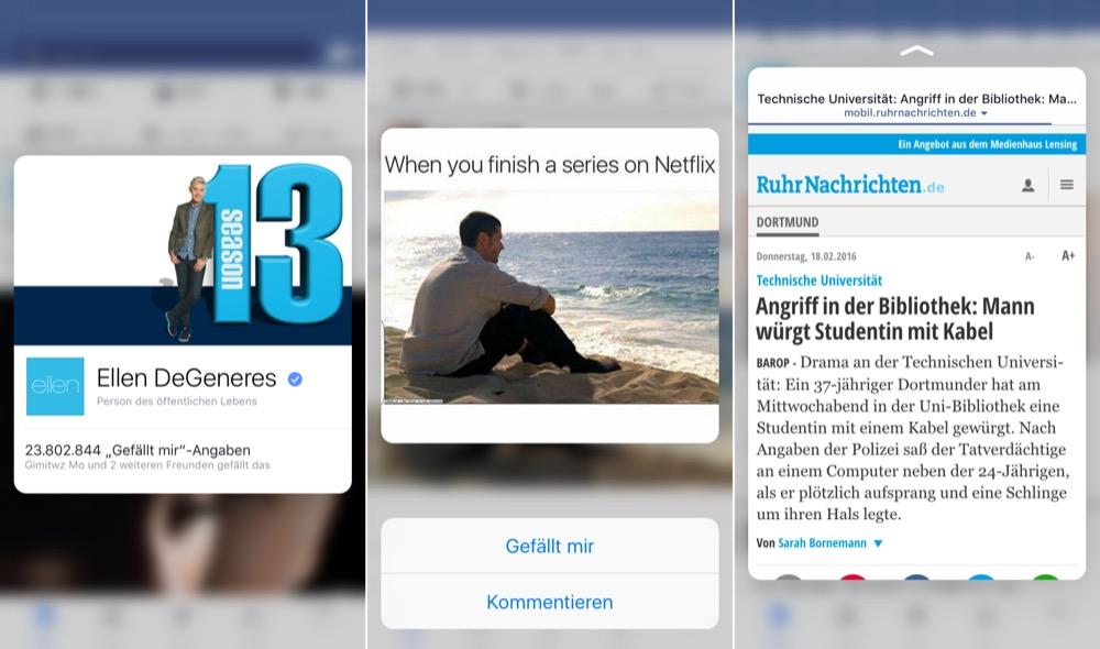 facebook peek und pop