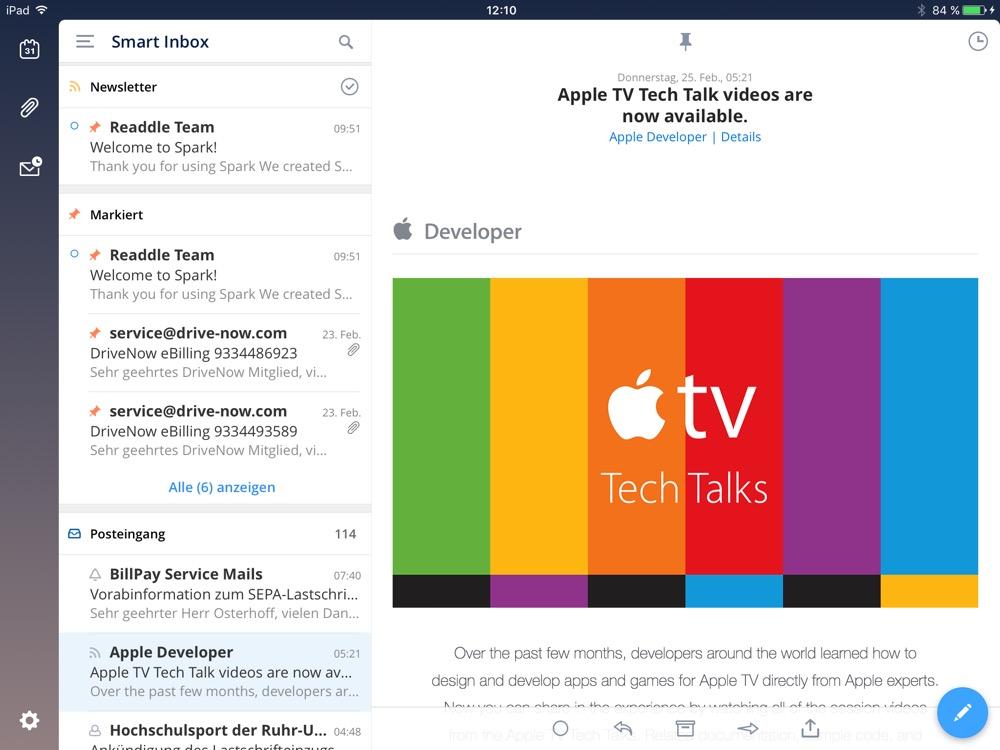 spark ipad inbox
