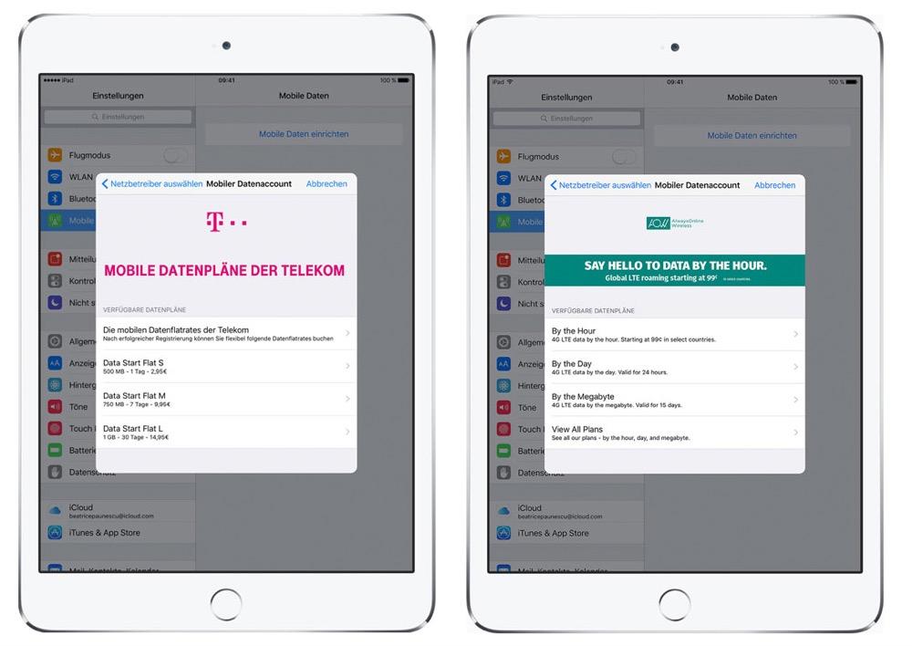 Apple SIM Datentarife