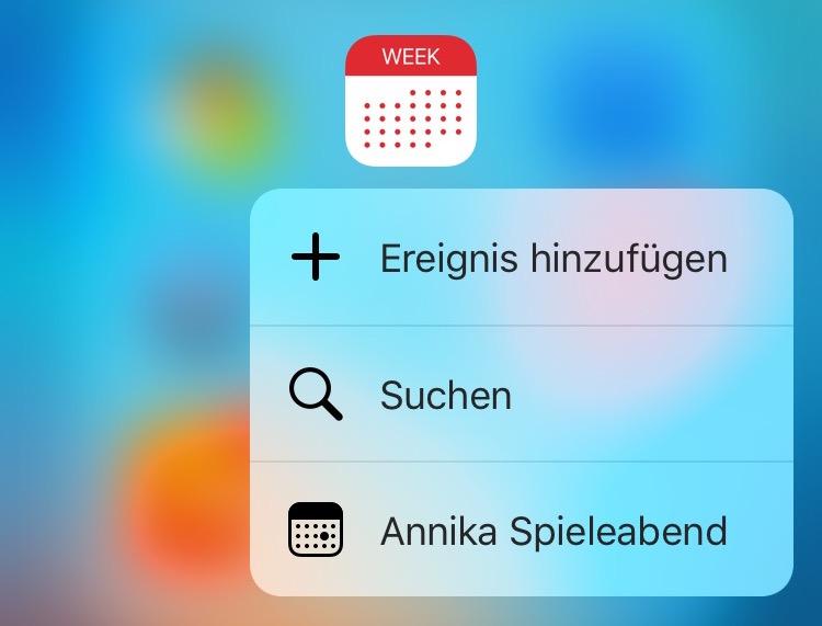 week calendar 3d touch