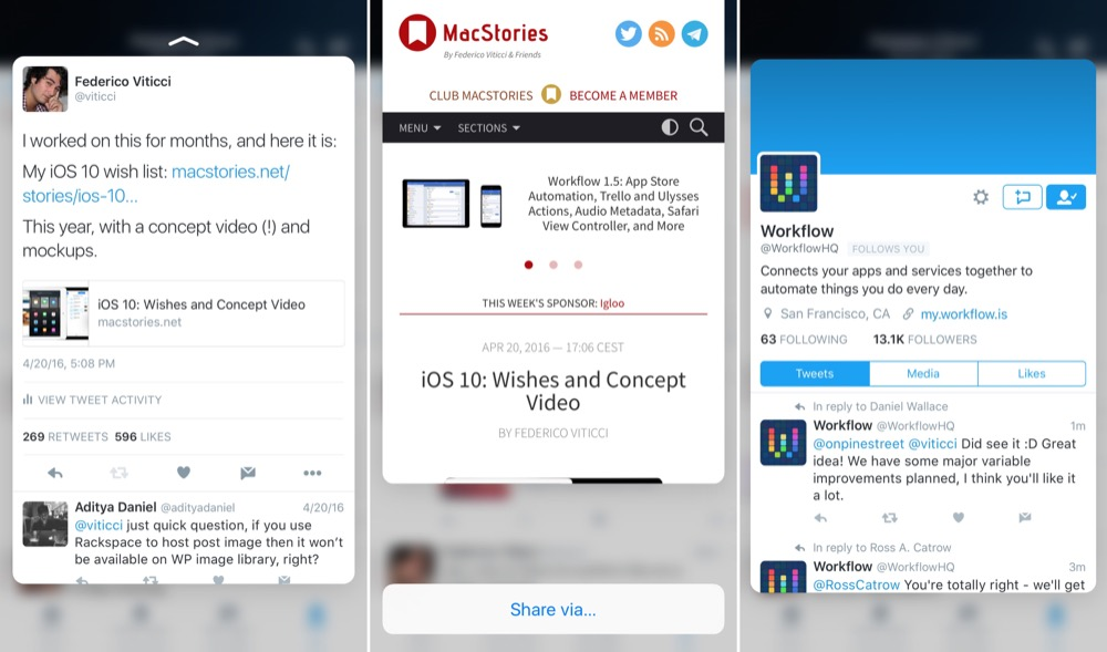 MacStories Twitter 3D Touch