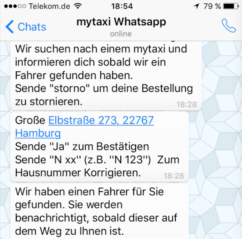 MyTaxi WhatsApp