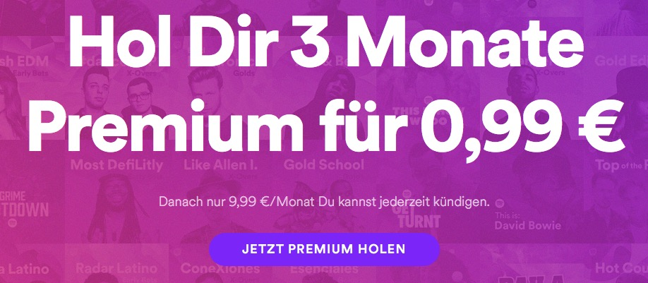 spotify premium 99 cent