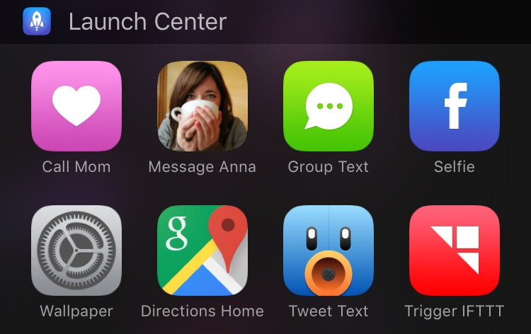 Launch Center Pro ipad widget