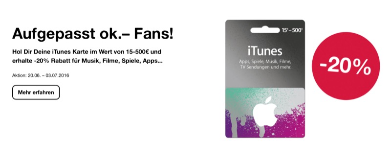 OK iTunes-Rabatt