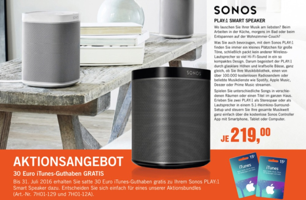 Sonos iTunes-Angebot