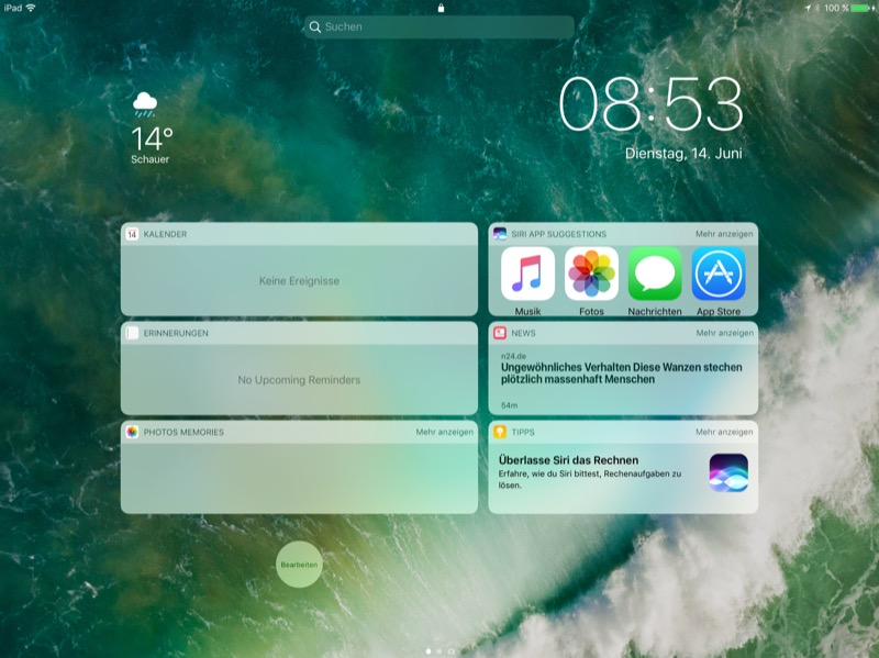 iOS 10 iPad Pro Lockscreen Widgets ohne Slide-to-Unlock