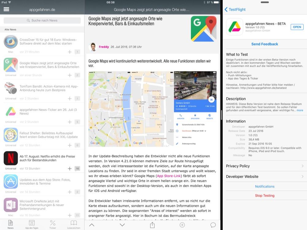 appgefahren Beta iPad 1