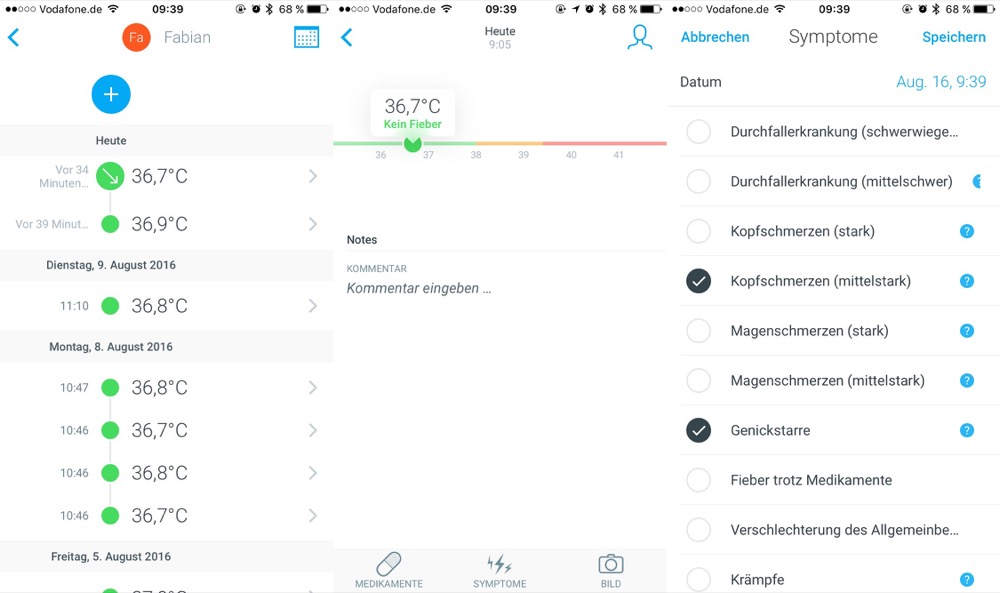 Withings Thermo Messwerte
