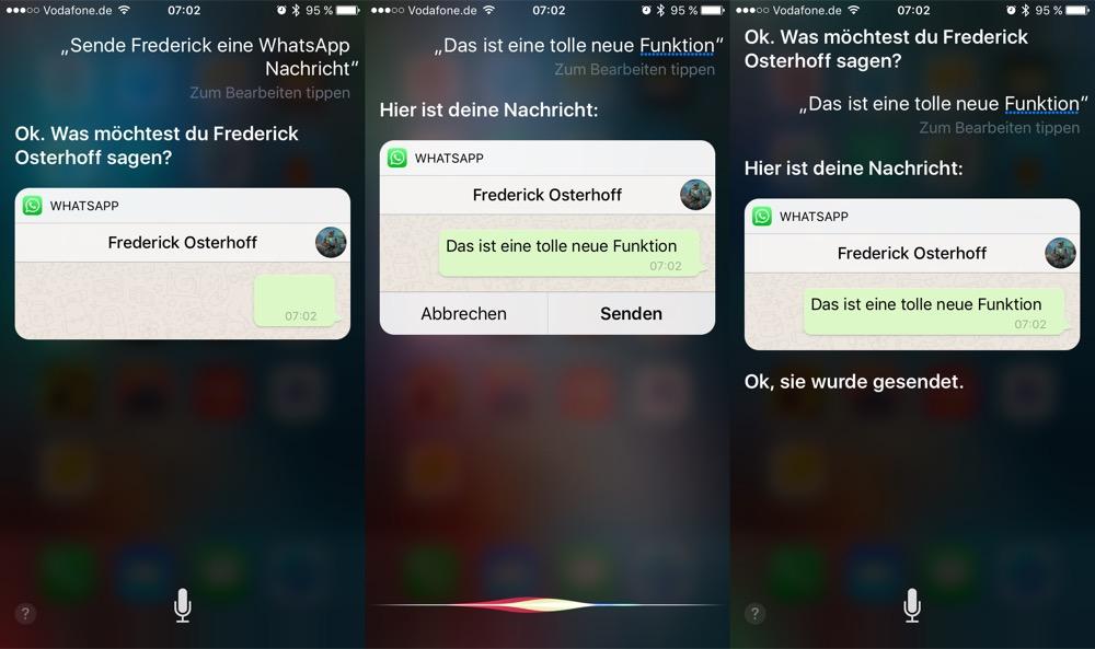 WhatsApp Messenger Siri