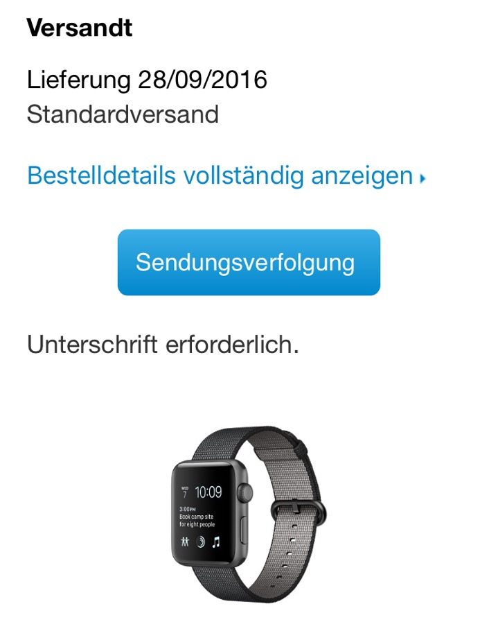 apple watch 2 versand