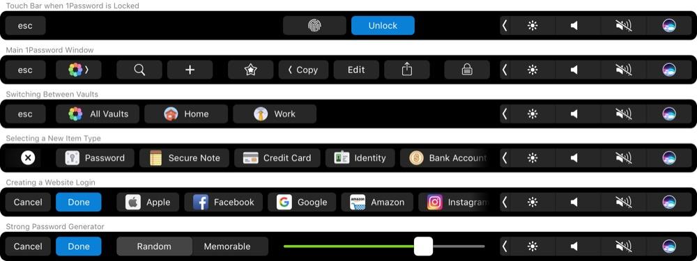 1password Touch Bar