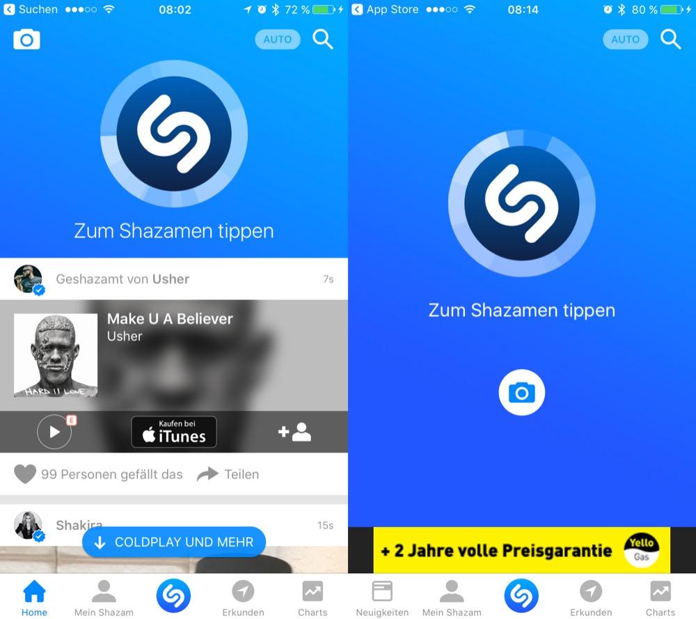 Shazam Startbildschirm