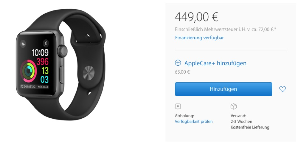 Apple Watch Series 2 Lieferung