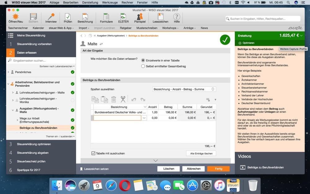 WISO Steuer 2017 Mac