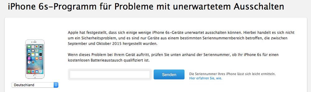 iPhone 6s Reparaturprogramm Seriennummer-Check