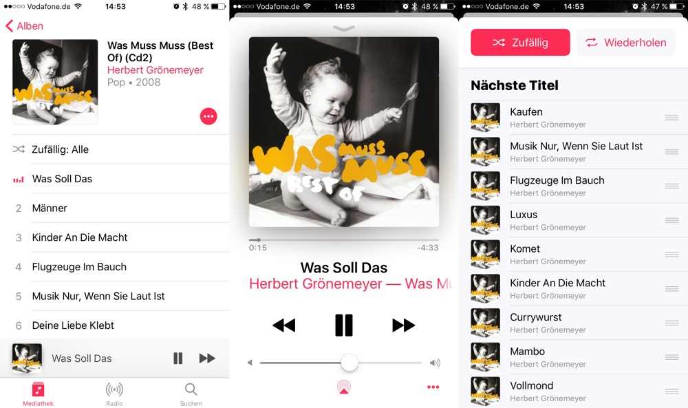 Apple Musik Shuffle Wiedergabe deaktivieren