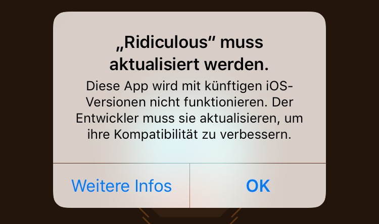 32 Bit iOS 11 Warnmeldung