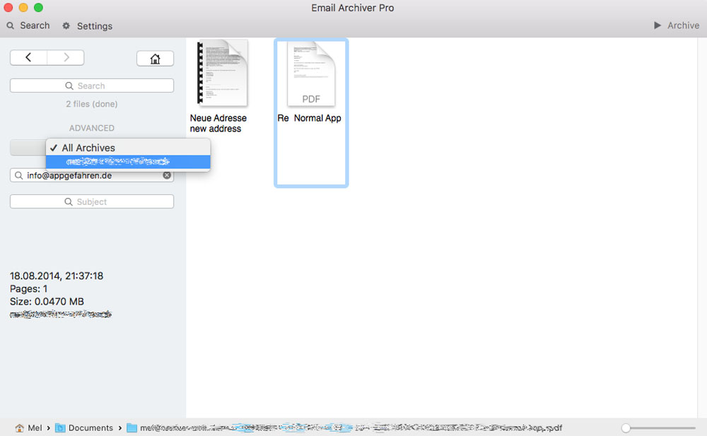Email Archiver Pro Mac 2