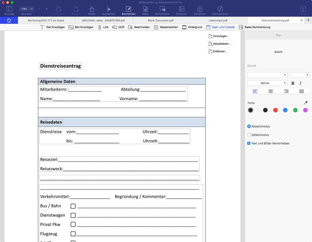 PDFelement 6 Pro edit