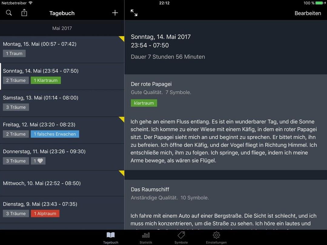Traeume Traumtagebuch iPad