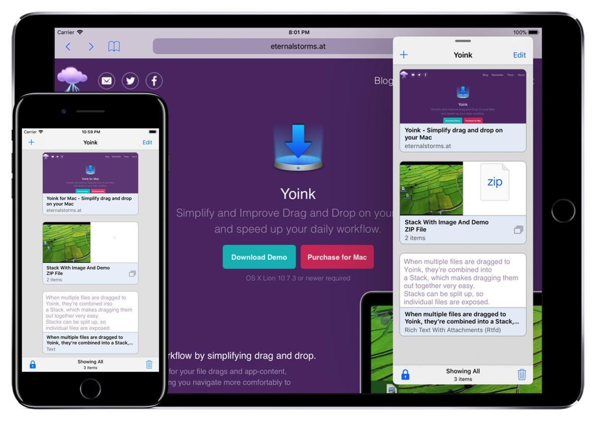 Yoink iPhone iPad