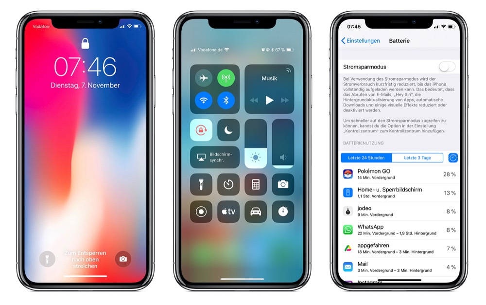 iphone x batterie prozent