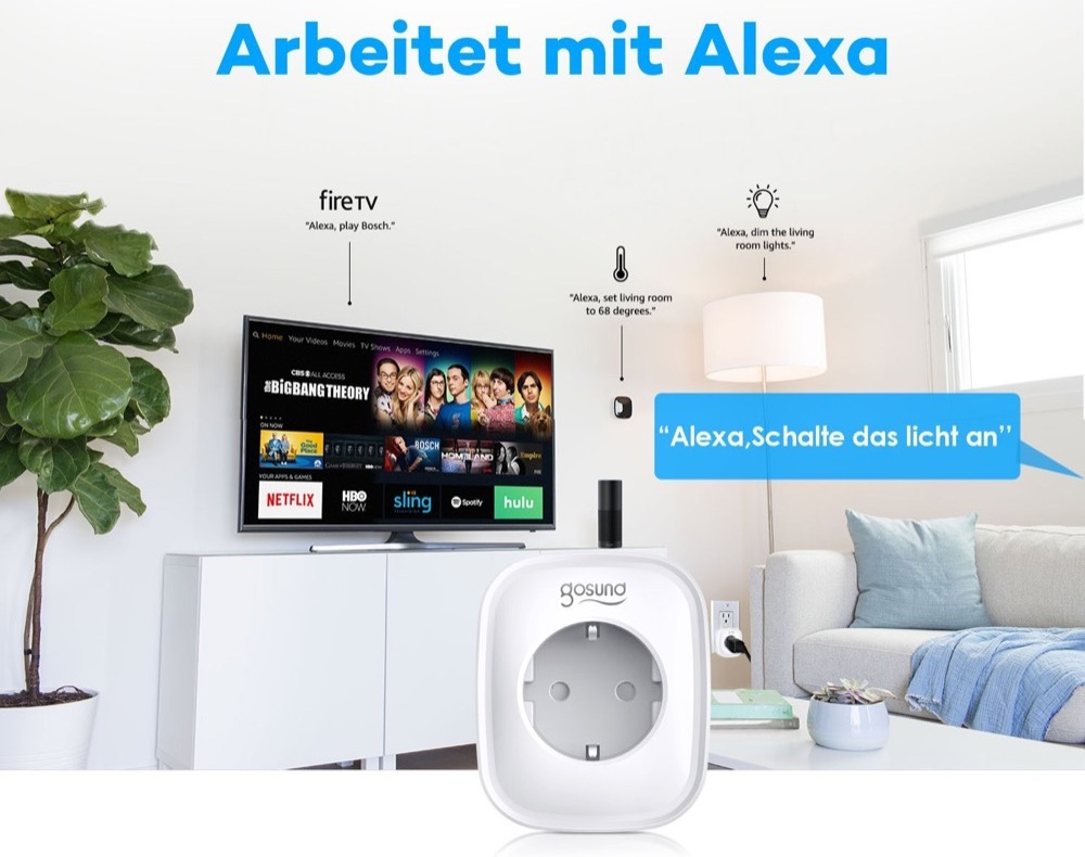 vorbei gosund wlan steckdose mit alexa und google. Black Bedroom Furniture Sets. Home Design Ideas