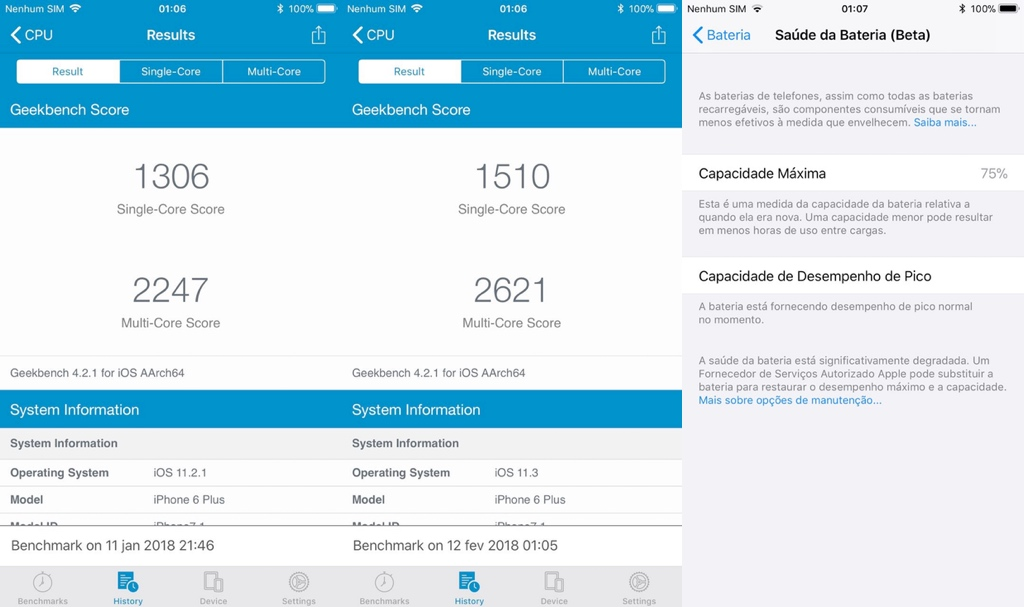 Geekbench iOS 11.3
