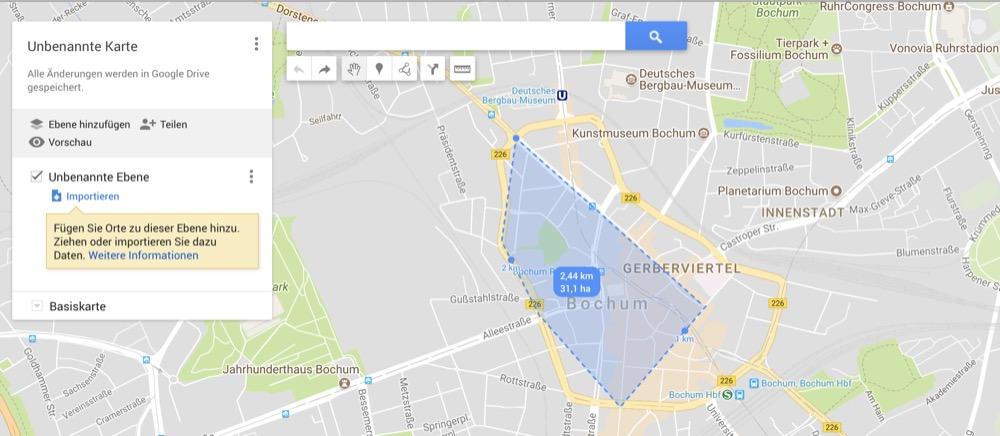 google maps strecke messen