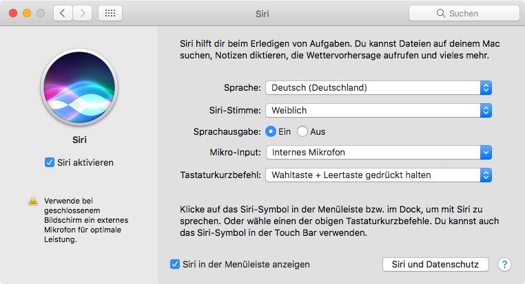 siri einstellungen mac