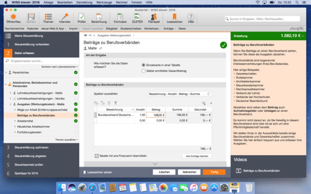 WISO Steuer 2018 Mac 1