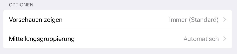 iOS 12 Mitteilungen