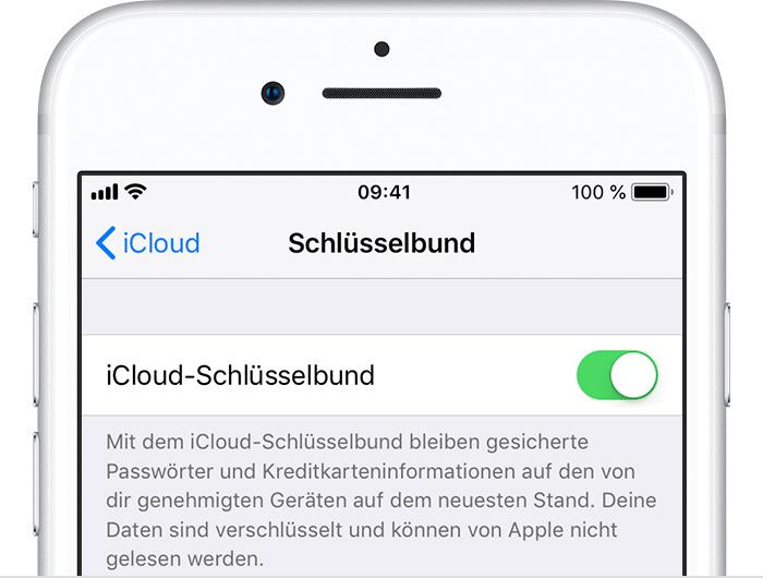 iCloud Schluesselbund Einstellungen