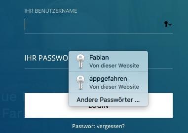 iCloud Schluesselbund Login