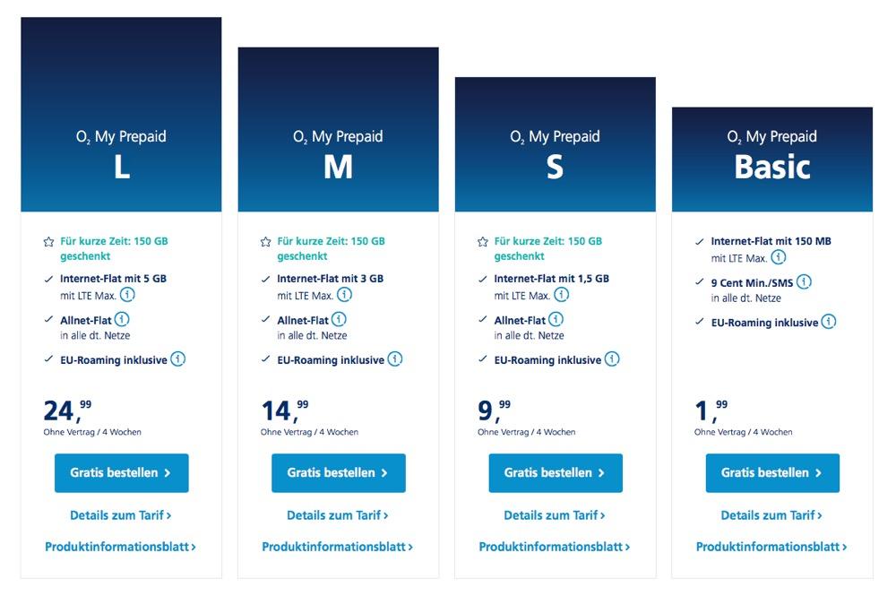 o2 prepaid tarife