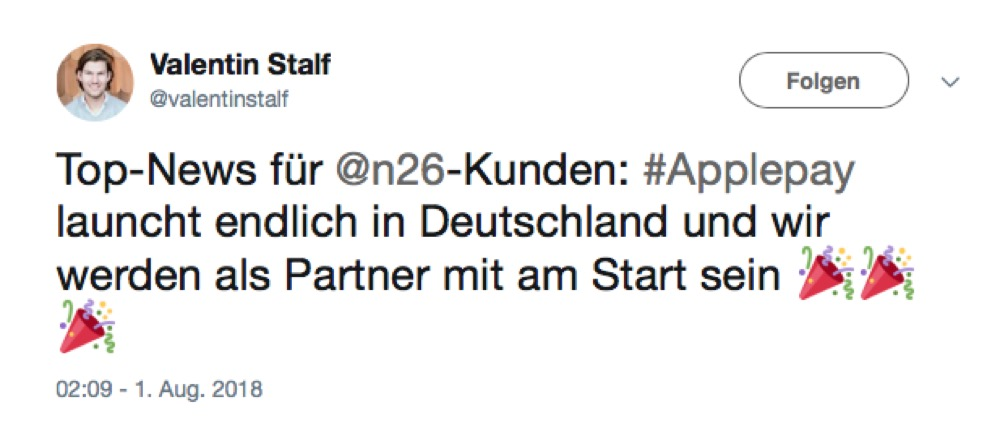 N26 Twitter Apple Pay