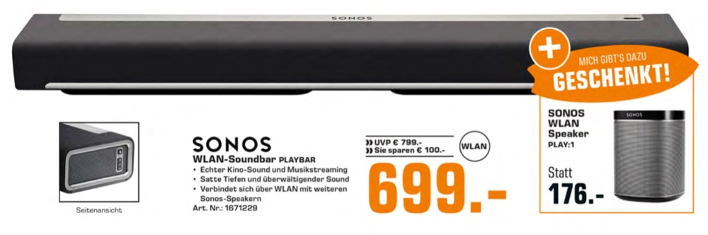 sonos playbar kaufen und play 1 lautsprecher geschenkt. Black Bedroom Furniture Sets. Home Design Ideas