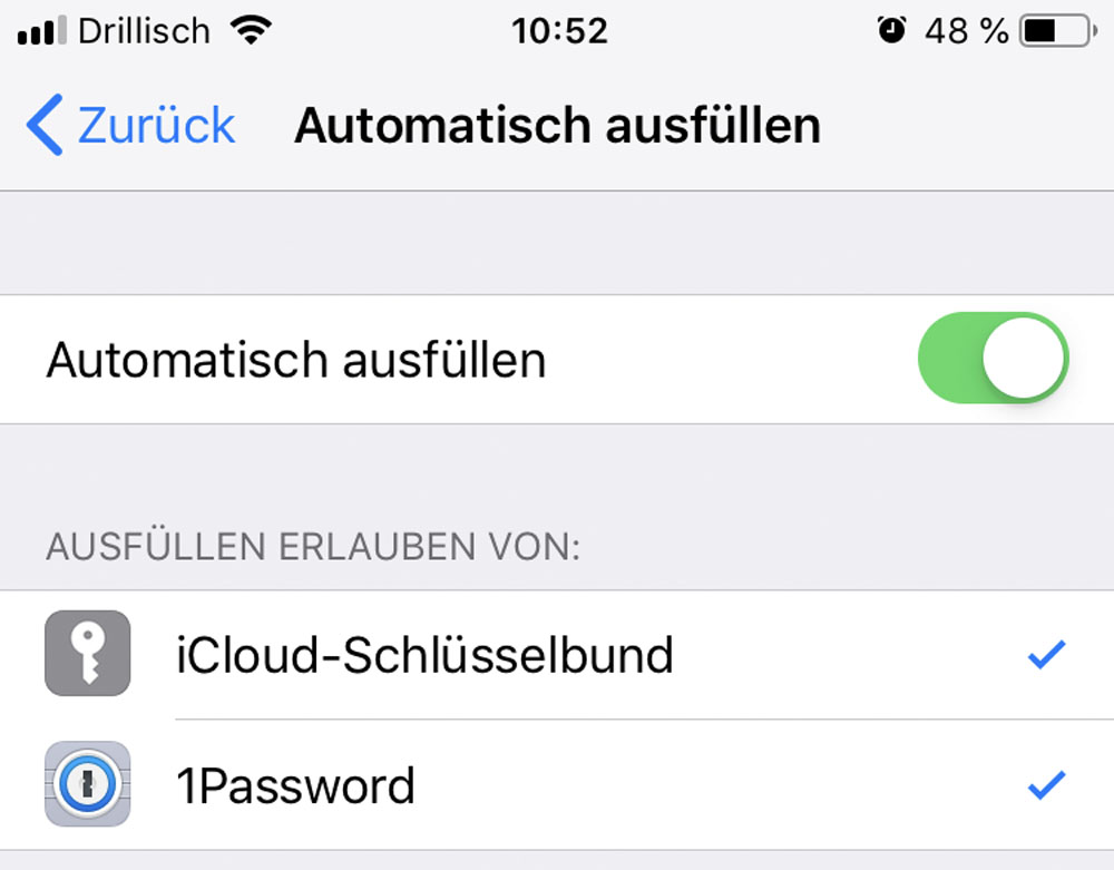 iOS 12 Auto Passwort