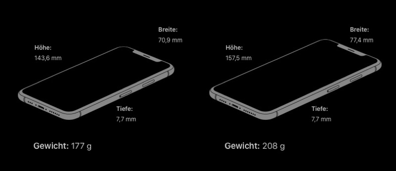 iPhone XS Apple Abmessungen
