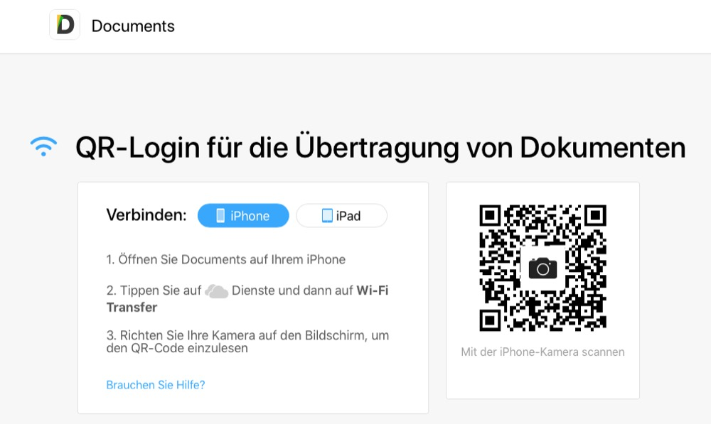 Documents von Readdle WiFi Transfer