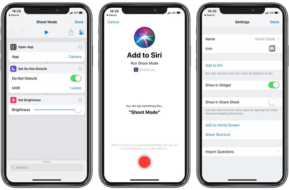 Shoot Mode Siri Kurzbefehl