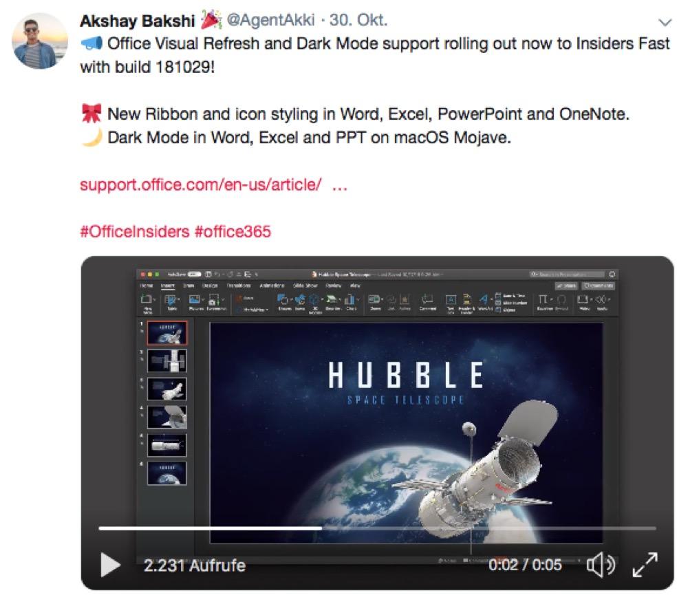Tweet MS Office Dark Mode Mac
