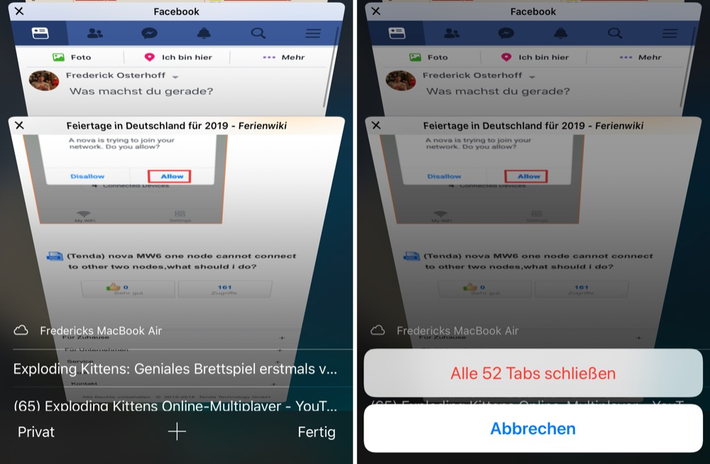 alle tabs schliessen iphone