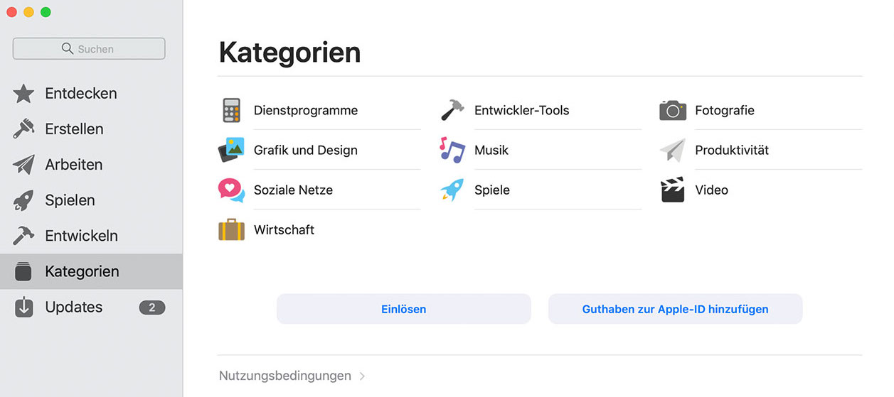 mac app sstore kategorien