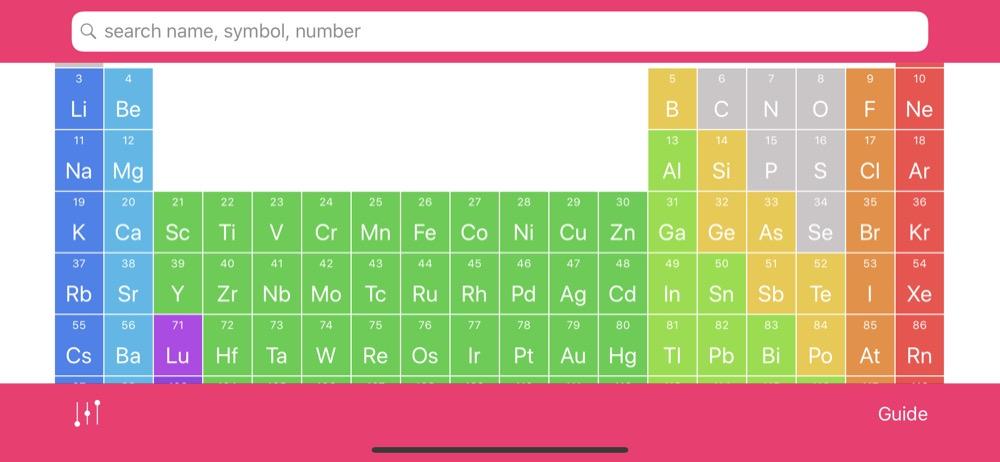 Periodensystem der Elemente auf dem iPhone in der App Elementium