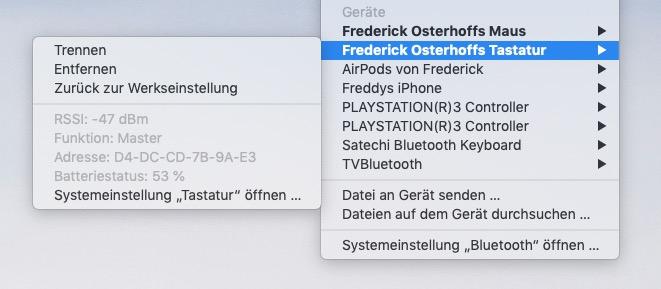 Bluetooth-Geräte entfernen in macOS