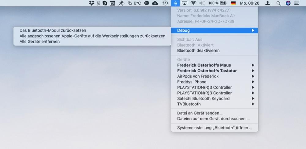 Debug-Menü in macOS
