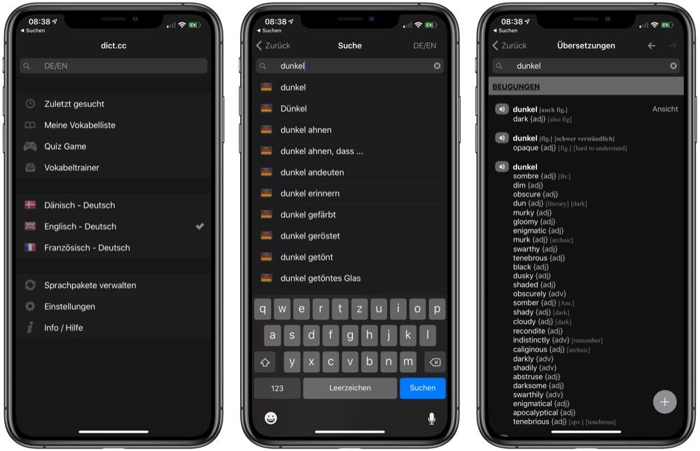 iPhone-App dict.cc im Dunkelmodus